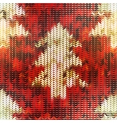 Knitted texture with Christmas tree images on red vector image