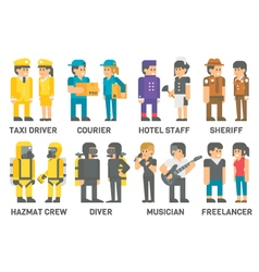 Flat design people with professions set vector