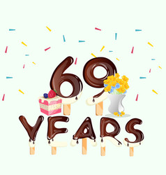 69th years happy birthday card vector image vector image