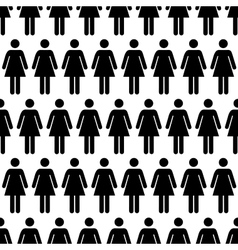 Crowd of black simple women icons on white vector