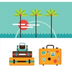 Summer vacation tourism background with travel vector