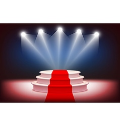 3d illuminated stage podium with red carpet for vector