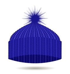 Blue knitted cap isolated winter hat vector
