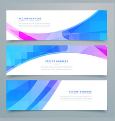 Abstract wavy banners and headers set vector