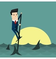 Among sharks business concept cartoon vector