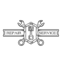 Auto service emblem sign vector image vector image