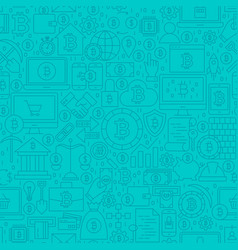Blue cryptocurrency line tile pattern vector