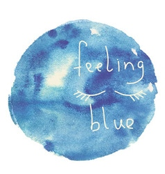 Blue watercolor blot with lettering vector