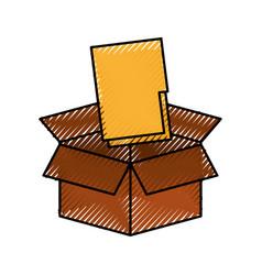 Cardboard box folder file document storage concept vector