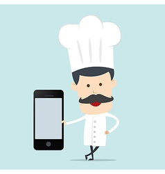 Chef show blank mobile device for use in vector