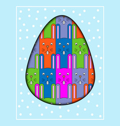 colorful cartoon rabbit postcard with a funny vector image vector image