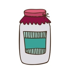 Colorful glass jam with label and lid vector