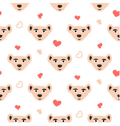 Cute bear pink fun seamless pattern for kids and vector