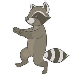 cute cartoon raccoon fun runs forward vector image vector image