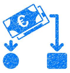 Euro cash flow grunge icon vector