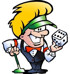 Hand-drawn of an Casino Croupier vector image