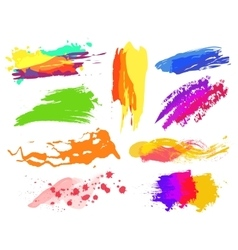 Handmade colorful paint strokes collection vector image