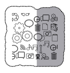 monochrome contour sticker with computer icons vector image