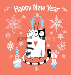 New year card with a happy cat vector