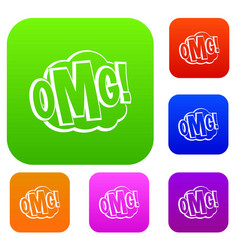 omg comic text speech bubble set color collection vector image