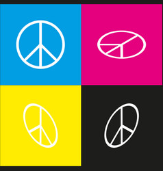 peace sign white icon with vector image vector image