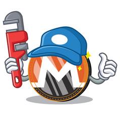 Plumber monero coin character cartoon vector