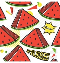Pop art style watermelon seamless pattern vector image vector image