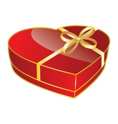 Red heart shaped gift box vector image vector image