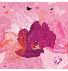 Seamless Pink Floral Background with Butterflies vector image