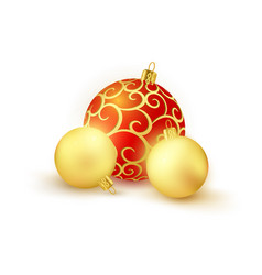 set of 3 red and golden christmas balls isolated vector image vector image