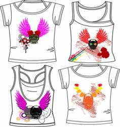 Skull and wings fashion vector