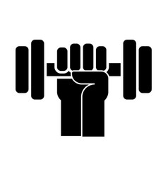 strong hand with dumbbell icon vector image