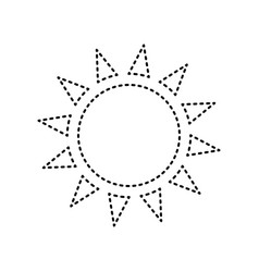 Sun sign black dashed icon vector