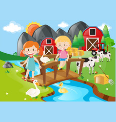 two girls and animals by the river vector image vector image