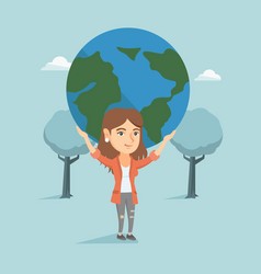 Young caucasian business woman holding globe vector