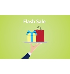 Flash sale with hand give a plate vector