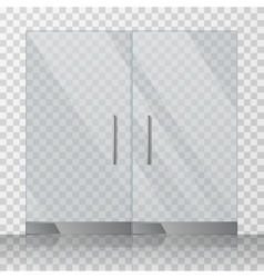 Mall store glass doors vector