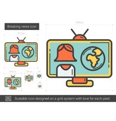 Breaking news line icon vector