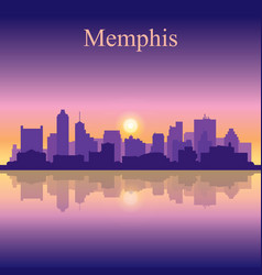 memphis silhouette on sunset background vector image