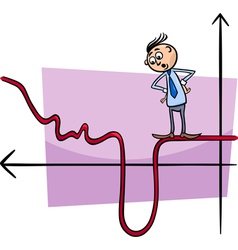 Businessman on graph curve cartoon vector
