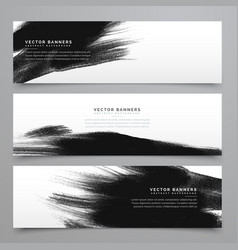 Black ink strokes banenrs and headers collection vector