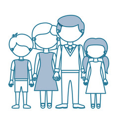 Blue contour with color sections faceless family vector