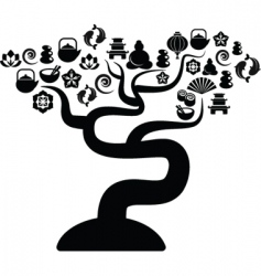 zen icons tree vector image