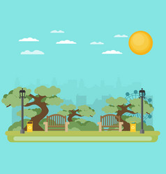 Public park in the city vector