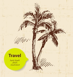 Vintage travel background with palms vector