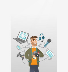 Young caucasian man surrounded by her gadgets vector