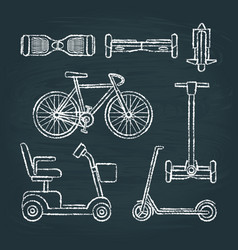 set of scooter and bike sketches on chalkboard vector image