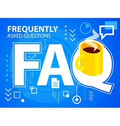 Bright faq and coffee on blue background for vector