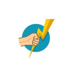 Hand holding lightning vector image