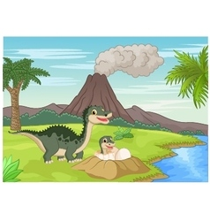 Mother dinosaur with baby hatching vector